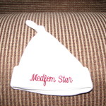 Our first item of baby clothes - a Medfem hat.