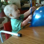 Playing with a balloon at the Spur