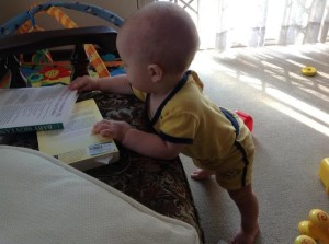 Standing in pursuit of Mommy's books