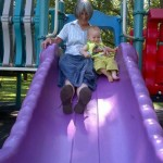 Sliding with Granny.