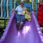 Sliding with Granny.