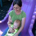 Sliding with mom.