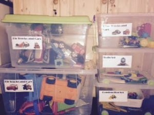boxes of boy's toys with labels