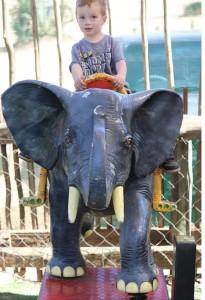 child riding mechanical elephant