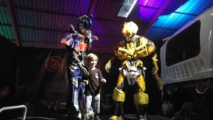 with bumble bee and optimus prime